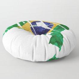 Brasil Typographic World Map / Brasil Typography Flag Map Art Floor Pillow