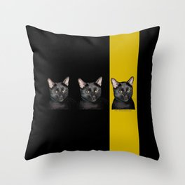 Three Black Cats with Black and Yellow Background Throw Pillow