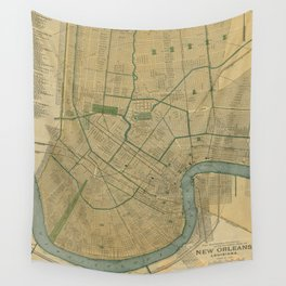 Vintage Map of New Orleans Louisiana (1893) Wall Tapestry