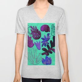tropical leaves embroidered pattern Unisex V-Neck