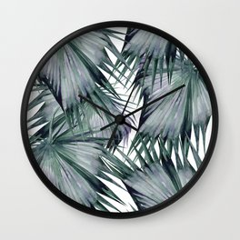 Tropical Leaves Green Wall Clock