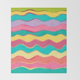 Wavy Pastel Tones Throw Blanket