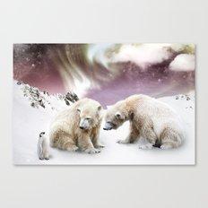 Polar Bears and Penguin Canvas Print