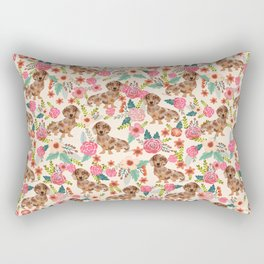 Dapple cream Dachshund doxie floral florals dog breed gifts for pupper must haves Rectangular Pillow
