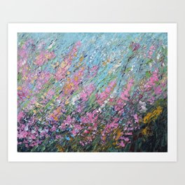 Modern Abstract Landscape Canvas Art, Impressionism Snapdragon WildFlowers Art Print