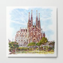 La Sagrada Familia watercolor Metal Print