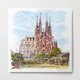 La Sagrada Familia watercolor Metal Print