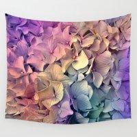 hydrangea Wall Tapestries featuring Soft Multi Color Hydrangea by Judy Palkimas