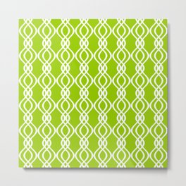 Green and white curved lines Metal Print