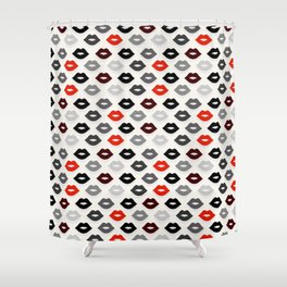 Retro Lips - Red, Grey and Black Pattern Shower Curtain
