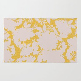 light floral silhouette on gold Rug