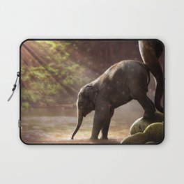 Baby Elephant & Mama at Watering Hole Laptop Sleeve