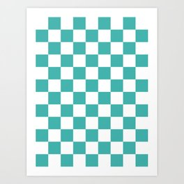 Checkered - White and Verdigris Art Print