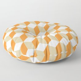 Diamond Repeating Pattern In Russet Orange and Grey Floor Pillow