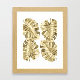 Gold Monstera Leaves on White Framed Art Print