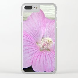 Pink Musk Mallow Pollen Overflow Clear iPhone Case