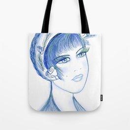 Fancy Flapper in Blues Tote Bag