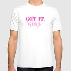 Get it, Girl White MEDIUM Mens Fitted Tee