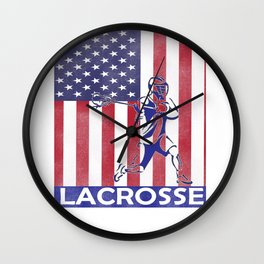 Lacrosse Flag print LAX Player Coach Team product Wall Clock