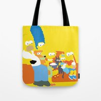 simpsons Tote Bags featuring The Simpsons - Family by TracingHorses
