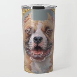 Old Gentleman. Amstaff Dog portrait in gold frame Travel Mug