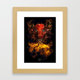 Digital dragon head, red skin and green eyes Framed Art Print