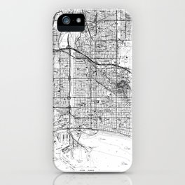 Vintage Map of Long Beach California (1964) BW iPhone Case
