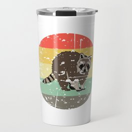Retro Tee For Animal Lovers With A Cute Nice Illustration Of A Raccoon Forestry Animals Forester  Travel Mug