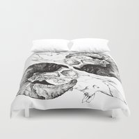 study Duvet Covers featuring Skull study by Polkip