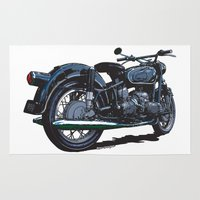 bmw Area & Throw Rugs featuring BMW R50 MOTORCYCLE by Ernie Young