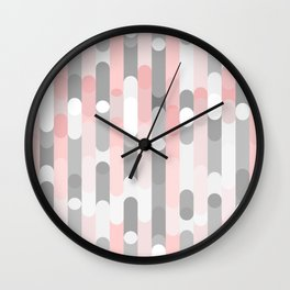 pink and gray round rectangle Wall Clock