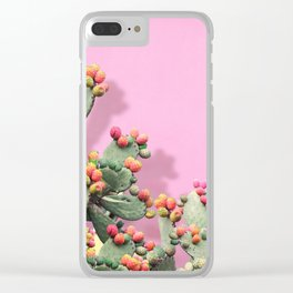Prickly Pear plants on Pink Clear iPhone Case
