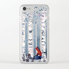 The Birches (in Blue) Clear iPhone Case