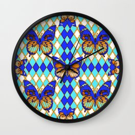ARGYLE ABSTRACTED  BROWN SPICE  MONARCHS BUTTERFLY & BLUE-WHITE Wall Clock