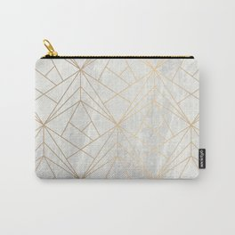 Gold Geometries on Marble Carry-All Pouch