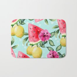 Pattern watermelon, lemons and tropical flowers Bath Mat
