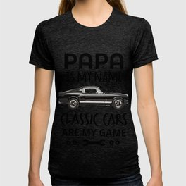 Vintage Retro Old Boys Truck Lovers T Shirt GiftPapa Is My Name Classic Cars Are My Game Men Women T-shirt