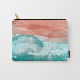 The Break - Turquoise Sea Pastel Pink Beach Carry-All Pouch