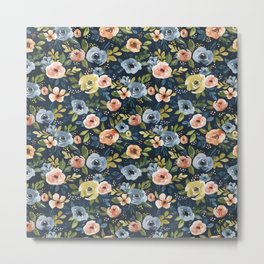 Nightfall Floral Print, Watercolor Flowers, Navy Blue, Salmon Pink, Mustard Yellow Metal Print
