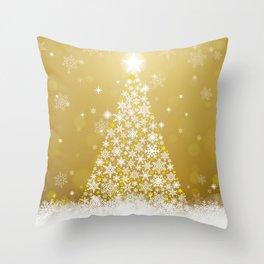 Gold Snowflakes Sparkling Christmas Tree Throw Pillow