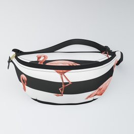 Simply Flamingo Deep Coral on Midnight Black Stripes Fanny Pack
