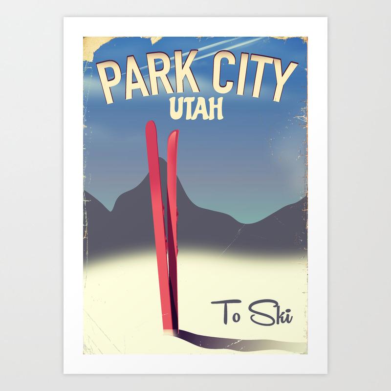 Park City Utah Ski Travel Poster Art Print By Nicholasgreen Society6