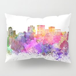 Norfolk skyline in watercolor background Pillow Sham