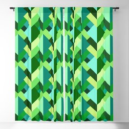 Modern Abstract Triangles, Emerald Green and Aqua Blackout Curtain
