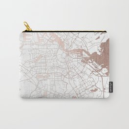 Amsterdam White on Rosegold Street Map Carry-All Pouch
