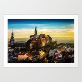 Czechoslovakia Sunday Hilltop Village Landscape by Jeanpaul Ferro Art Print
