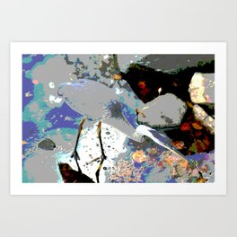 Heron looking for Lunch  Art Print