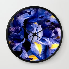 Purple Amethyst Floral Bouquet With Elegant Yellow Accents Wall Clock