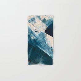 Against the Current [2]: A bold, minimal abstract acrylic piece in blue, white and gold Hand & Bath Towel