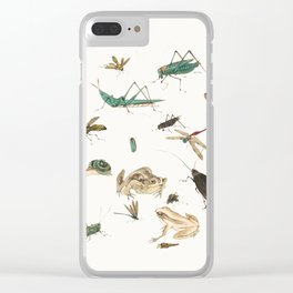 Insects, frogs and a snail Clear iPhone Case